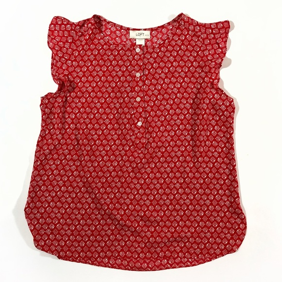LOFT Tops - Ann Taylor LOFT ruffle button petite red tank top